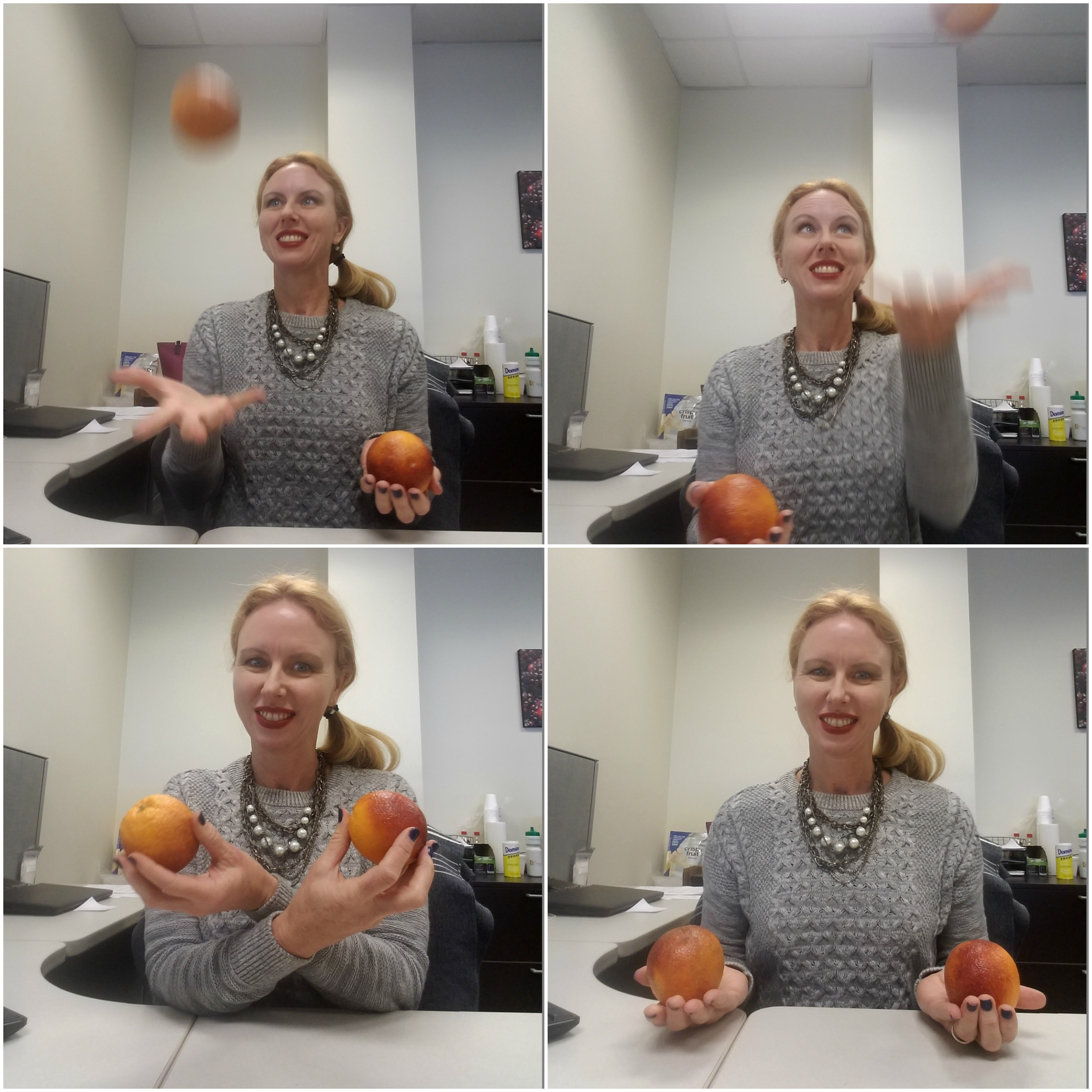 We asked Francy to talk about blood oranges. We had no idea she could juggle, or that she would send us pictures of her juggling, and this is why we love her.
