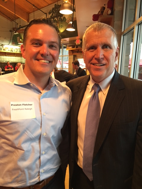 In this image (left to right): Preston Fletcher, President of FreshPoint Raleigh; U.S. Senator Thom Tillis (R-NC)