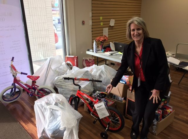 Part of FreshPoint Dallas' holiday donations with Janet Green for the The Family Place.